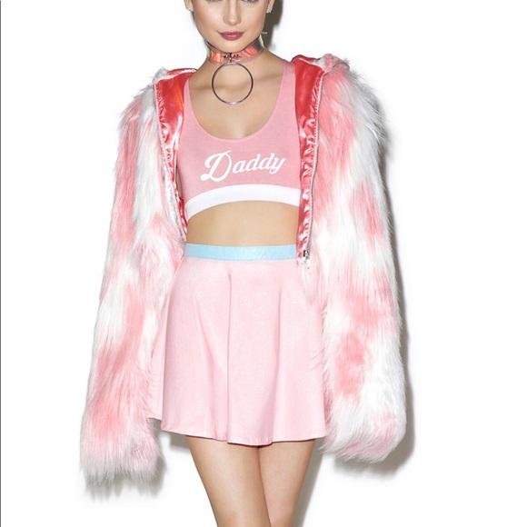 662569c8183a Dolls Kill Jackets & Coats | Pink Long Faux Fur Cropped Coat W Hood ...